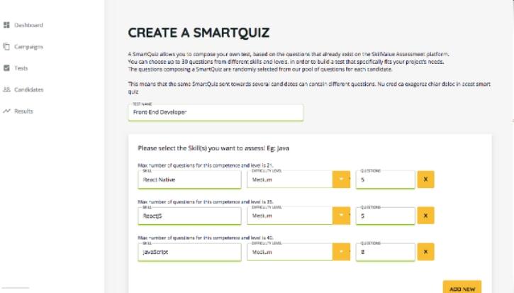 Create a Smartquiz - SkillValue